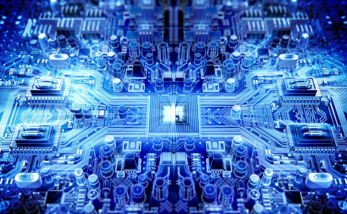 A blue electronics board
